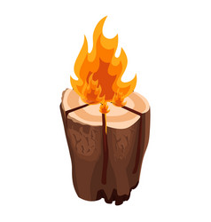 Camping bonfire from tree trunk vector