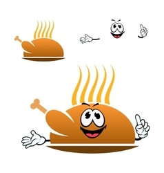 Cartoon roasted chicken leg on dish vector image