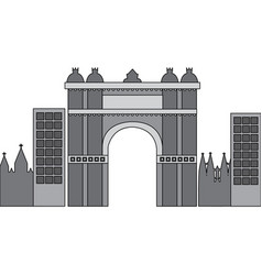 castle building in city icon image vector image