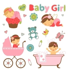 Colorful collection of baby girl announcement vector