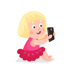 Cute cartoon blonde girl sitting on a floor and vector