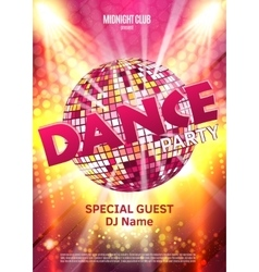 Dance Party Poster Background Template - vector image vector image