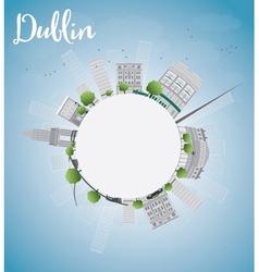 Dublin skyline with grey buildings blue sky vector