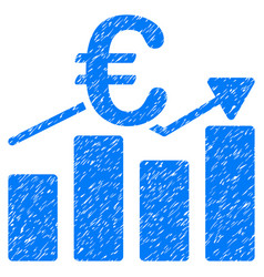Euro business chart grunge icon vector