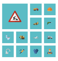 flat icons caution excavator worker and other vector image vector image