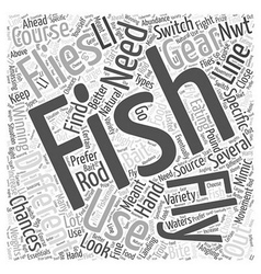 Fly fishing gear word cloud concept vector