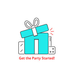 get the party started with thin line gift boxes vector image vector image