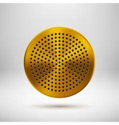 Gold abstract circle button template vector