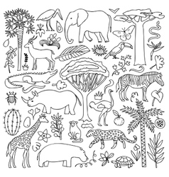 Hand drawn africa set vector