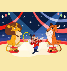Handler with lion and tiger at circus vector