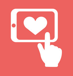 Hands holding tablet with heart sign flat white vector