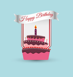 Happy birthday cake decoration poster vector