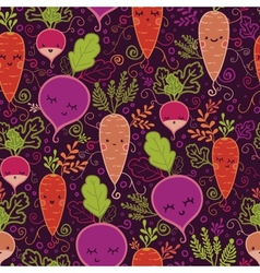 Happy root vegetables seamless pattern background vector