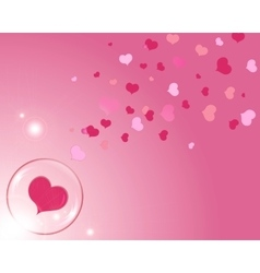 Hearts and bubble with reflections pink background vector