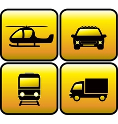 icons with transport silhouette vector image