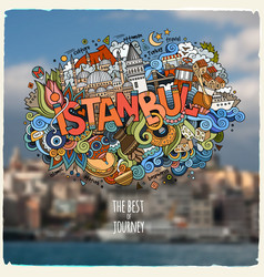 Istanbul hand lettering and doodles elements and vector