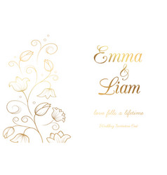 Lily wedding invitation vector