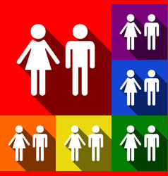 Male and female sign set of icons with vector