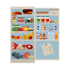 Open refrigerator full of delicious food and cool vector