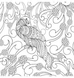 Parrot in flowers vector image vector image