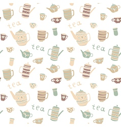 Pattern with teapot and cups vector image