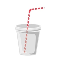 Plastic cup with straw vector