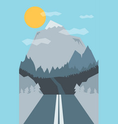 Retro road with mountain and forrest vector