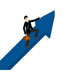 rising up businessman holding an arrow sign vector image