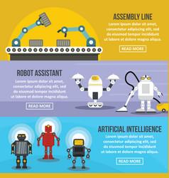 Robot assistant banner horizontal set flat style vector