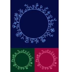 Set of Floral Round Frames vector image