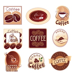 set of logos for coffee brown vector image