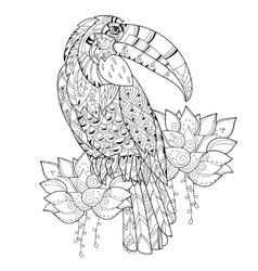 Stylized tropical birdHand drawn vector image