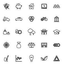Sufficient economy line icons on white background vector image vector image