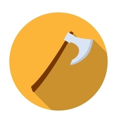 Viking battle-axe icon in flat style isolated on vector