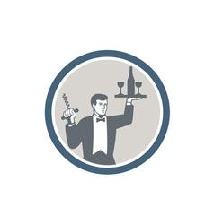 Waiter Serving Wine Bottle on Platter Retro vector image vector image