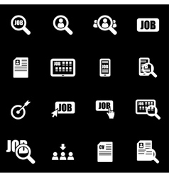 White job search icon set vector