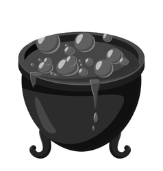 Witch cauldron icon gray monochrome style vector
