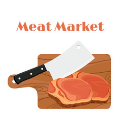 Cleaver butchers knife with steak cutting board vector