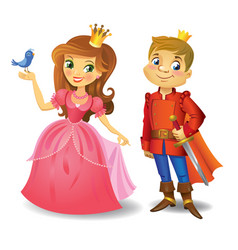 beautiful princess and prince vector image