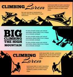 Climbing banners collection with black silhouettes vector