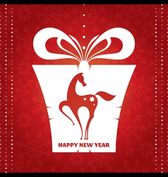 New year card with present vector