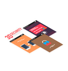 isometric mobile app ui design concept vector image