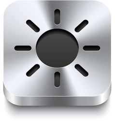 Square metal button perspektive - sun icon vector
