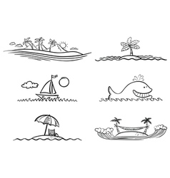 Beach design elements vector