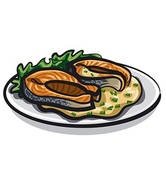 Grilled salmon and sauce vector