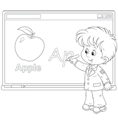 Schoolboy at the interactive whiteboard vector