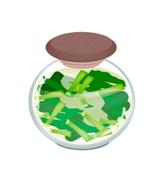 A jar of pickled chopped chinese broccoli vector