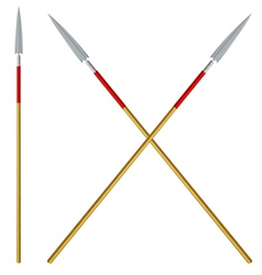 Crossed spears with red ribbon on a shaft vector