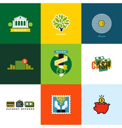 Creative icons of wallet banking cash growth coins vector