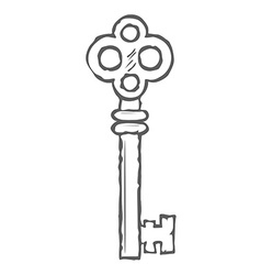 Hand drawn key isolated on white background vector